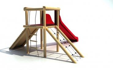 Rozhľadňa so sieťou, rebríkom, chodníkom a šmýkalkou, výška podstavy  1,0 m - B1d