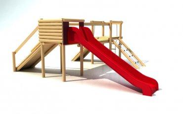 Hrad so šmýkalkou, reťazovou sieťou, lanovým rebríkom a šikmým chodníkom, výška podstavy  1,0 m - P13a