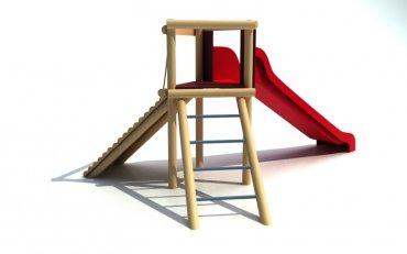Rozhľadňa s rebríkom, chodníkom, šmýkalkou, výška podstavy  1,0 m - B2a