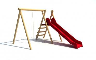Konštrukcia s húpacím lanom a šmýkalkou, výška šmýkalky  1,4 m, dľžka 290 cm - H6c