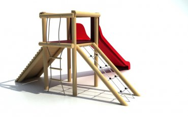 Rozhľadňa so sieťou, rebríkom , chodníkom a šmýkalkou, výška podstavy  1,2 m - B1e
