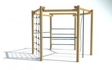 6-uholníková cvičná stena, 2x hrazda, lano na šplh, rebrík, reťazová sieť, šplhadlo, výška 2,1 m - P10