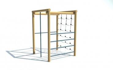Štvorcová cvičná stena, hrazda, šplhadlo, rebriny, reťazová sieť, výška 2,1 m - P14