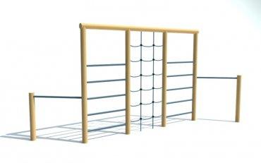 Kombinovaná cvičná stena, 2x hrazda, 2x rebrík, reťazová sieť, výška 2,1 m - P11