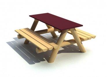 Stôl s dvoma lavicami, stolná doska 1250 x 500mm - L5