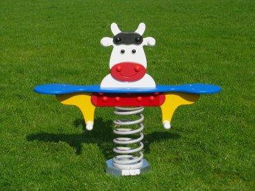 Húpačka na pružine MP - krava biela pre dvoch - MP