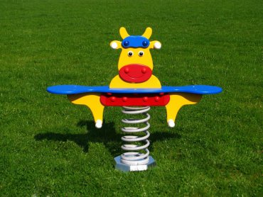 Húpačka na pružine MP - krava žltá pre dvoch - MP