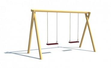 Dvojhojdačka so sedákmi  ( baby sedák + 40,- €/ks), znížená na pádovú výšku 1 m - H4S